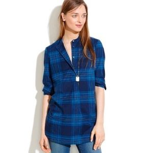 Madewell Blue Plaid Pullover Button Down Tunic Top